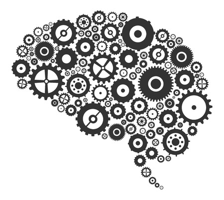 Brain Section Made Of Cogs And Gears Vector Illustration