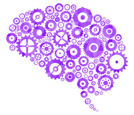 cogs and gears: Brain Section Made Of Cogs And Gears Illustration