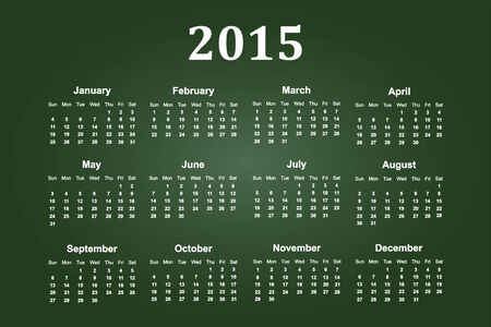 green chalkboard: Calendar Of Year 2015 On Green Chalkboard Illustration