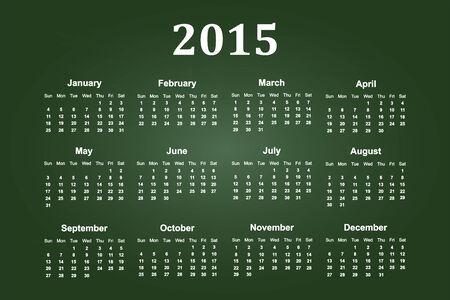 Calendar Of Year 2015 On Green Chalkboard Illustration