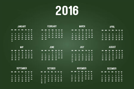 Calendar Of Year 2016 On Green Chalkboard Vector