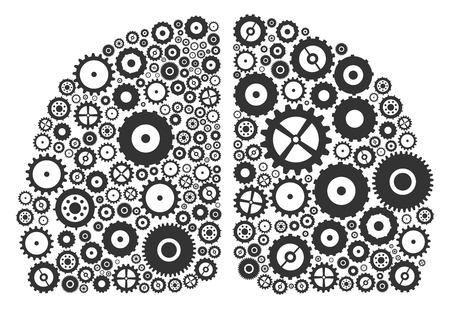 Human Brain Hemispheres Made Of Cogs And Gears Vector