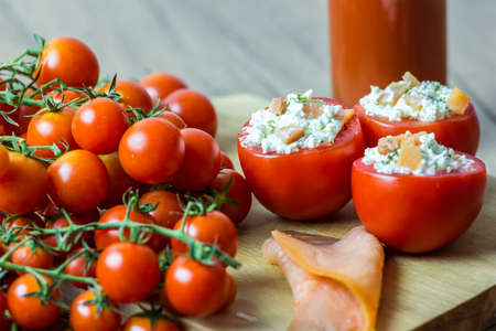 fill up: Salmon And Feta Cheese Filled Tomatoes Dinner And Tomato Juice