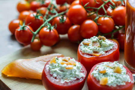 Fresh Red Tomatoes With Cheese And Tomato Juice Glass photo