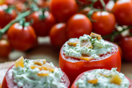 Healthy Red Tomatoes With Cheese Appetizer Close Up photo