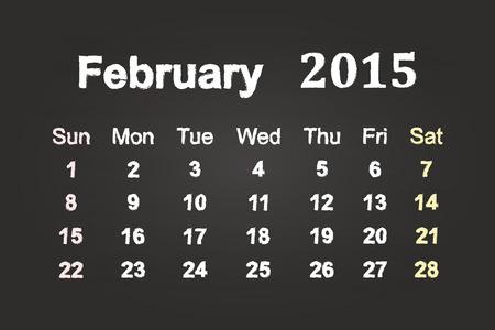 February Month 2015 Calendar On Blackboard