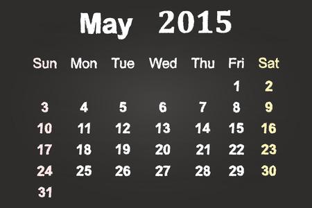 May Month 2015 Calendar On Blackboard Vector