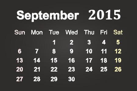 September Month 2015 Calendar On Blackboard Illustration