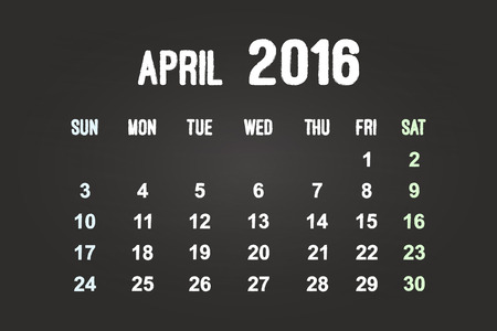 April Month 2016 Calendar On Blackboard Vector