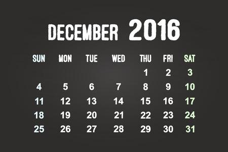 December Month 2016 Calendar On Blackboard Vector