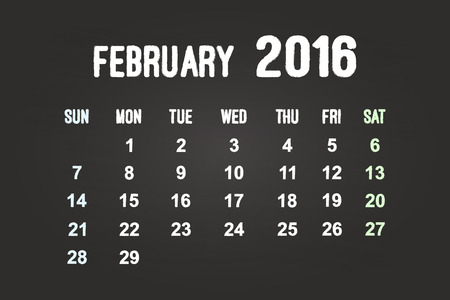 February Month 2016 Calendar On Blackboard Vector