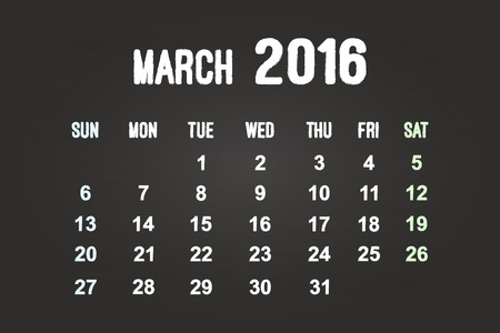March Month 2016 Calendar On Blackboard Vector