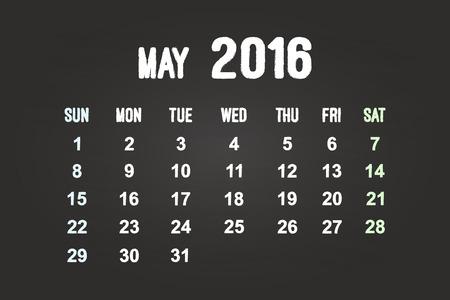 May Month 2016 Calendar On Blackboard Vector
