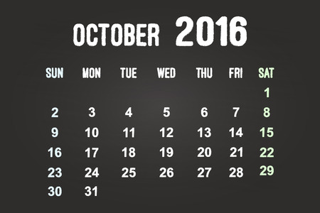 October Month 2016 Calendar On Blackboard Vector
