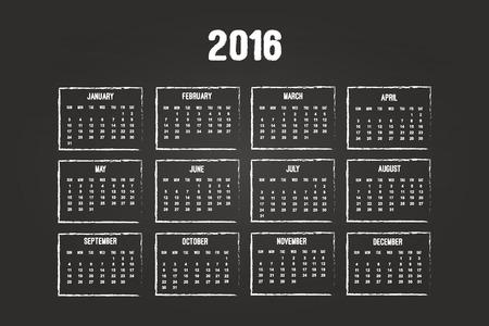 Calendar Of Year 2016 On Blackboard Vector