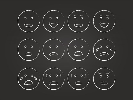 Emoticons Set On Blackboard Ilustracja