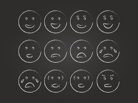 Emoticons Set On Blackboard Illustration