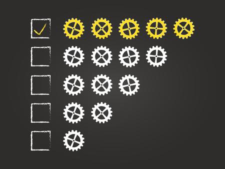Five Cogs Quality Feedback Form On Blackboard Vector