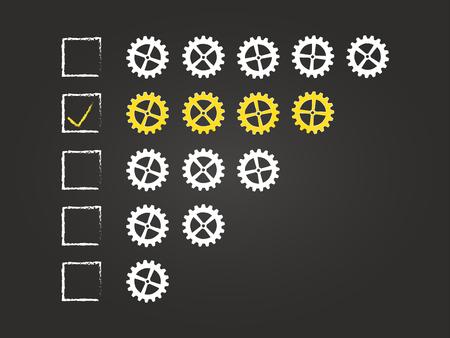 Four Cogs Quality Feedback Form On Blackboard Vector