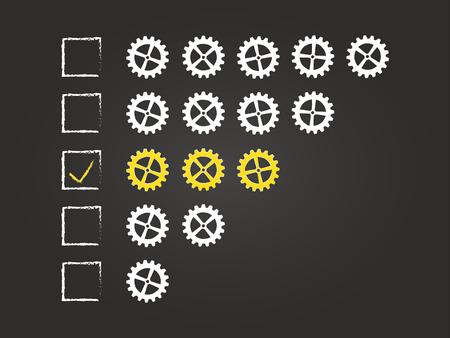 Three Cogs Quality Feedback Form On Blackboard Vector