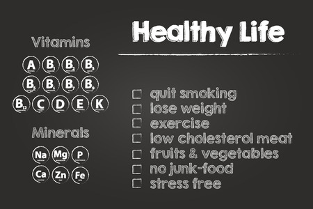 main group: Healthy Life Steps On Blackboard Illustration