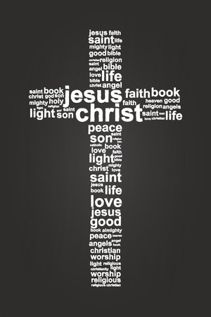 jesus cross: Jesus Christ Christian Cross Word Cloud On Blackboard
