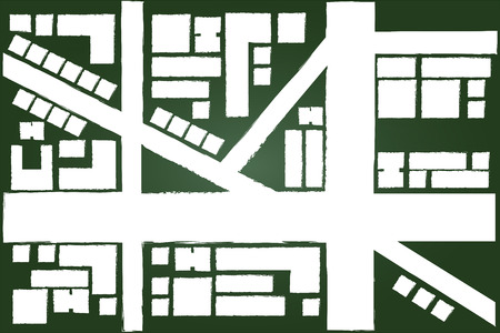 Regional City Map Drawing On Green Chalkboard Vector