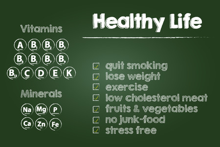 Healthy Life Steps On Green Chalkboard Vector