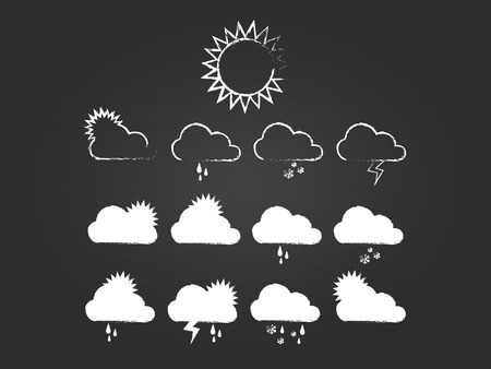 Weather Icons Set On Blackboard Vector