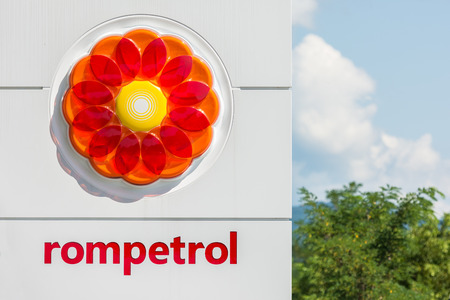BUCHAREST, ROMANIA - AUGUST 18, 2014: Rompetrol Gas is a Romanian oil company that operates in many countries throughout Europe and is active primarily in refining, marketing and trading.