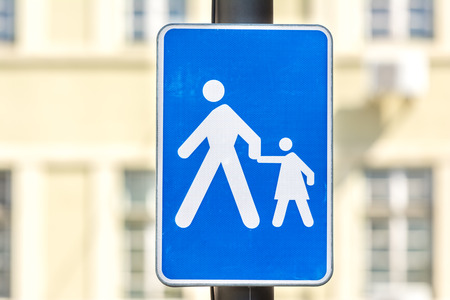 drive safely: Warning Pedestrian With Children On Road Sign