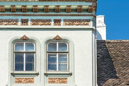 Old Medieval House Windows Facade photo