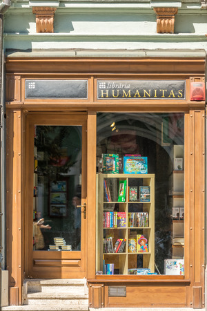 entrance: SIBIU, ROMANIA - AUGUST 19, 2014: Humanitas Library is an independent Romanian publishing house, founded on February 1, 1990 in Bucharest by the philosopher Gabriel Liiceanu.