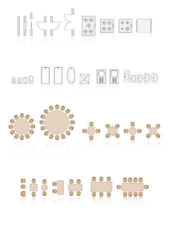 Architecture Icons For Plan Design With Reflection Vector