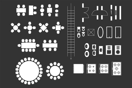 Architecture Icons For Plan Design On Blackboard Vector