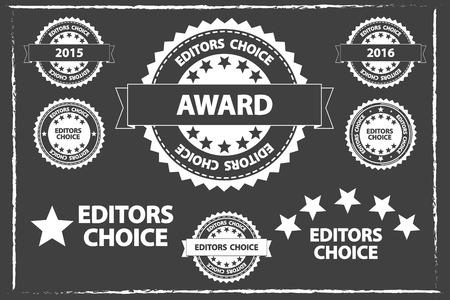 Editors Choice Badges Set On Blackboard Vector