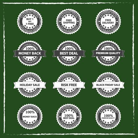 green chalkboard: Best Quality Product Shopping Badges Set On Green Chalkboard