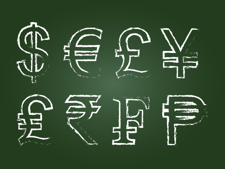 Currency Icon Set On Green Chalkboard Vector