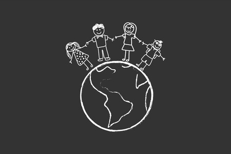 Happy Family With Children Around The World Drawing On Blackboard Vector