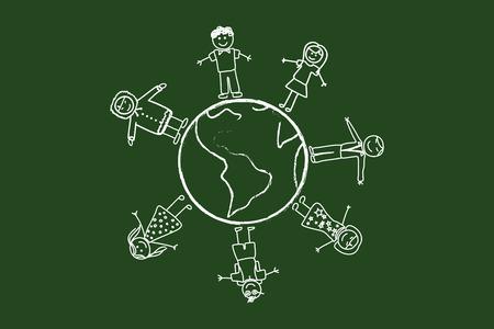 gens heureux: Happy People Around The Drawing mondiale sur tableau vert