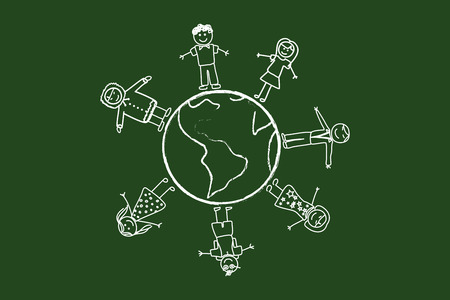 Happy People Around The World Drawing On Green Chalkboard Vector