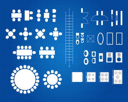 Blueprint Of Architectural Plan Icon Set Vector