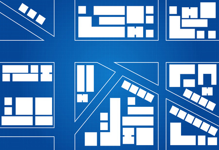 Blueprint Of City Map Main Street And Buildings Vector