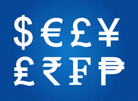 currency symbols: Common Currency Symbols Blueprint Illustration