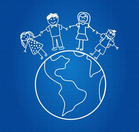 Happy Family Travel Around The World Blueprint Vector