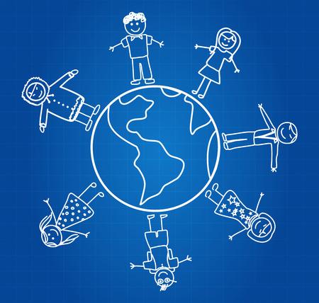 Children Around The Globe Blueprint Vector