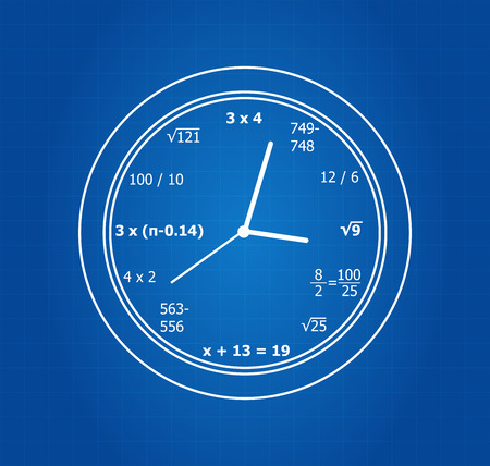 equations: Mathematical Equations Clock On Blueprint