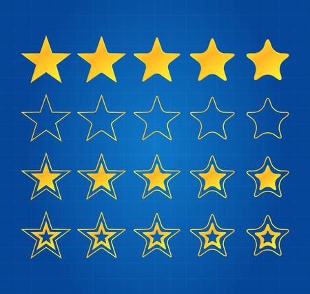 five star: Five Star Quality Award Icons On Blueprint Illustration