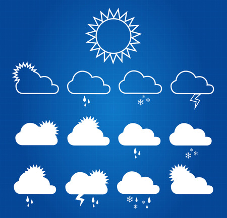 iconos del clima: Weather Icons On Blueprint Background Vectores