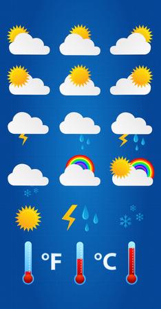 iconos del clima: Iconos del tiempo en modelo del fondo